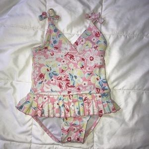One piece pink flower swimsuit